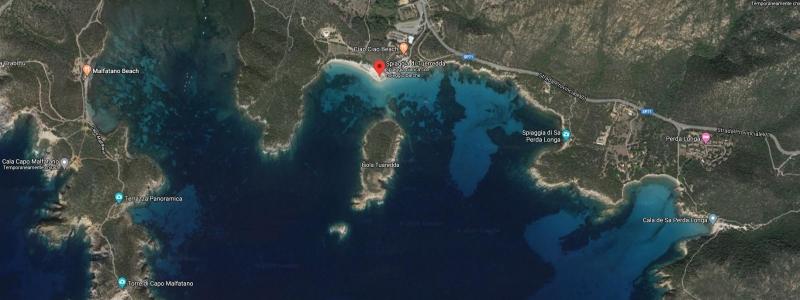 Mappa Spiaggia Tuerredda in Sardegna